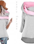 Bluza z kominem różowo siwa rozm M