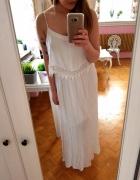 Biała długa sukienka maxi boho falbanka M 38 koronka