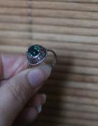 stary srebrny 925 pierścionek z kamieniem