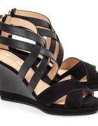 Nowe czarne sandały na koturnie 40 zamsz skóra naturalna Geox...