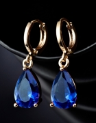 Nowe kolczyki niebieskie oczko kamyk cyrkonia złoty kolor wiszące
