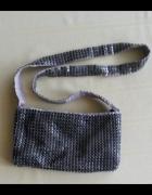 Mała torebka H&M metalowe elementy srebrna