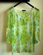 Bluzka Zielone Kwiaty Transparentna Vero