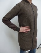 płaszc kurtka jodełka bejsbolówka brązowa długa s