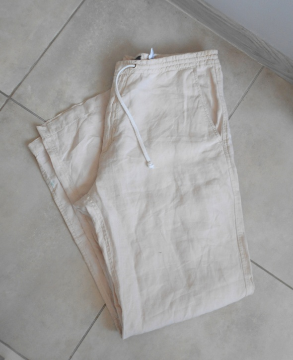 HM męskie beżowe spodnie lniane len na lato luźne w Spodnie