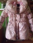 Różowy płaszczyk kurtka na polarze