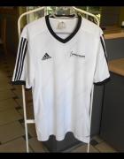 Adidas biała koszulka sportowa paski retro vintage