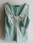 bluzeczka mietowa satyna vintage m