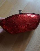 Torebka puzderko clutch bag sequin czerwona CUDO