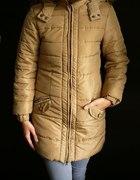 Długa beżowa kurtka płaszcz ocieplana xxs 32 xs 34