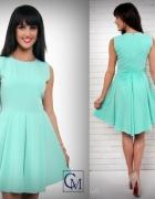 UROCZA MIĘTOWA asymetryczna sukienka M 38