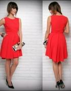 UROCZA CZERWONA asymetryczna sukienka S 36
