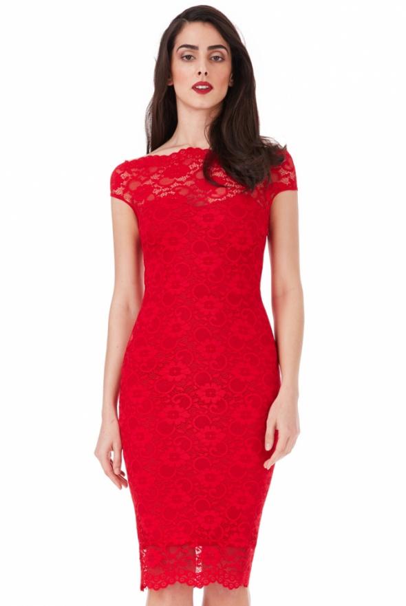 fc4454a41a Czerwona koronkowa sukienka ołówkowa midi w Suknie i sukienki - Szafa.pl