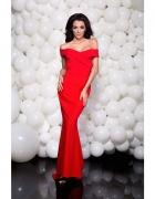 Ekskluzywna dluga sukienka kopertowy dekolt ramiona zip