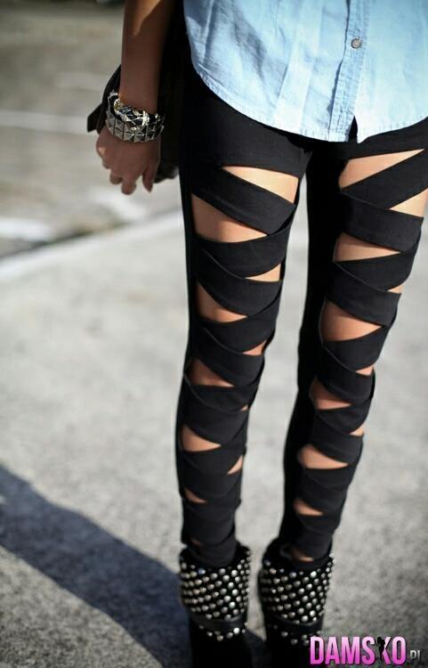 legginsy spodnie wycięcia