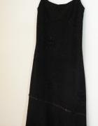 Sukienka czarna na ramiączkach z falbaną rozmiar M