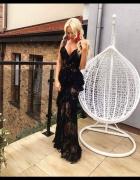 Just Unique Sukienka Koronkowa Karen długa maxi czarna 36 S