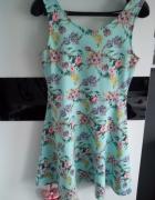 Sukienka miętowa w kwiaty