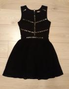 czarna sukienka rozkloszowana mgiełka ćwieki r M 38...