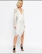 Koronkowa haftowana jasna sukienka midi Lavish Alice r S i XS...