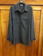 Klasyczna czarna koszula 44 z kieszeniami