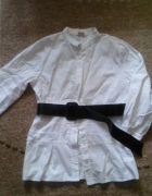 Biała wyjściowa koszula z czarnym paskiem M...