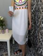 aztecka aztec sukienka midi boho mgiełka