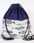 Ryby niebieski plecak ręcznie szyty