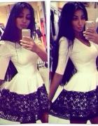 piękna biała z koronką modna
