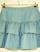 Jeansowa spódnica ICHI falbany S...