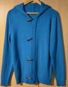męski sweter rozpinany z łatami