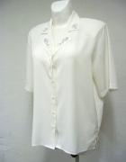 Koszula ecru z ozdobnym haftowanym kołnierzykiem nowa ecru retro vintage style 12 14