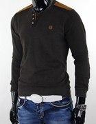 NOWY brązowy swetr łaty M