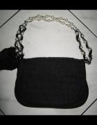 NEXT czarna torebka na pasku koraliki...