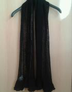 Czarny ażurowy szalik Orsay falbanki nowy z metką...