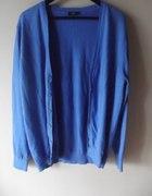 Niebieski kardigan L sweter na guziki