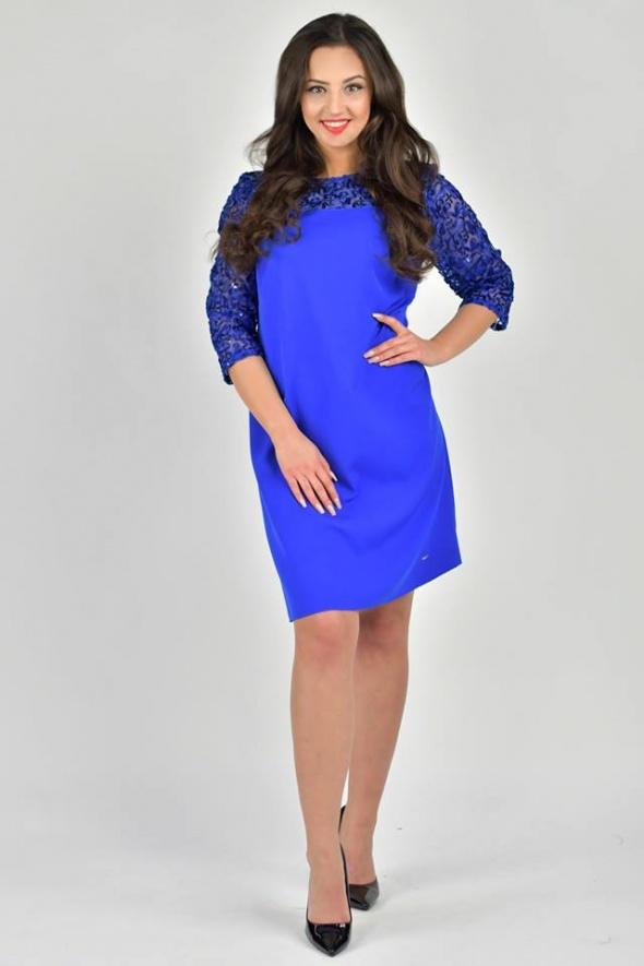 ac38522d12 Suknie i sukienki Kobaltowa sukienka z drobnymi cekinami rozmiar 46