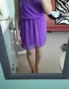 Kopertowa szyfonowa sukienka wiązanie na szyi