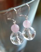 Eleganckie filigranowe kolczyki HAND MADE delikatne różowy kwar...