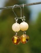 Żółte kolczyki HAND MADE wiszące kamienie naturalne...