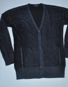 JOHN VARVATOS sweter kardigan NAVY silk CASHMERE XL