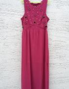 sukienka maxi z prześwitującą wstawką i zdobieniam