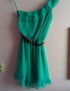 Asymetryczna morska sukienka
