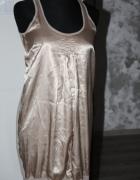 beżowa złota sukienka tunika