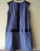 szara sukienka ze skórzanymi wstawkami