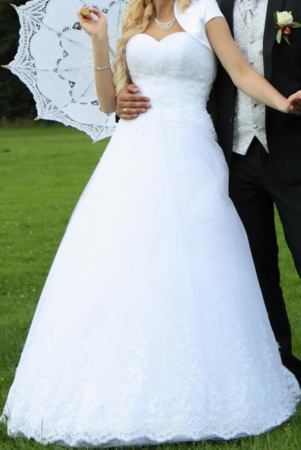 Suknia ślubna długa biała rozmiar 36 38 princessa