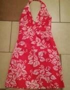 sukienka Malinowa w kwiaty