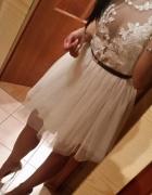 Sukienka koronka tiul ecru biel kloszowanie sexi siatka dekolt...