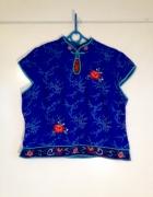 MonSoon w chińskim stylu gejsza bluzka niebieska kwiaty róże 44...