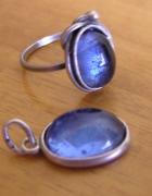 Antyk 875 NIEBIESKIE OKO srebrny pierścionekWarmet